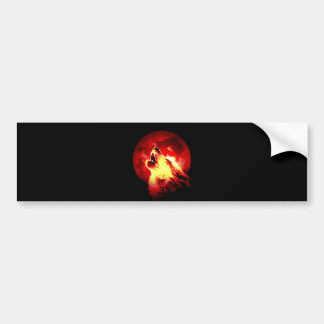 Wolf Howling at Red Night Bumper Stickers