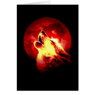 Wolf Howling at Red Night Greeting Card