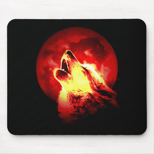 Wolf Howling at Red Night Mouse Pad