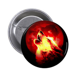 Wolf Howling at Red Night Pinback Button