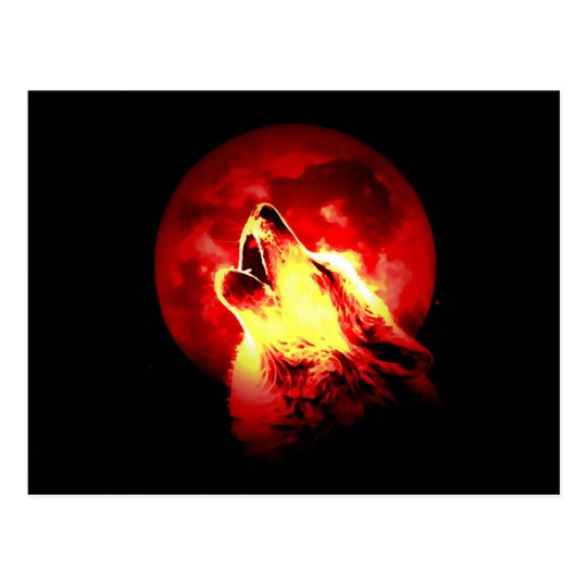 Wolf Howling at Red Night Postcard