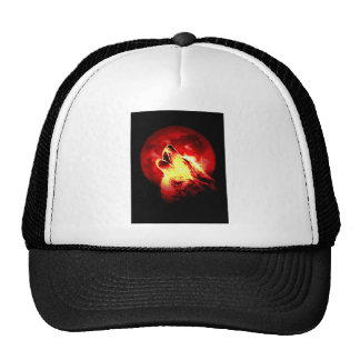 Wolf Howling at Red Night Trucker Hat