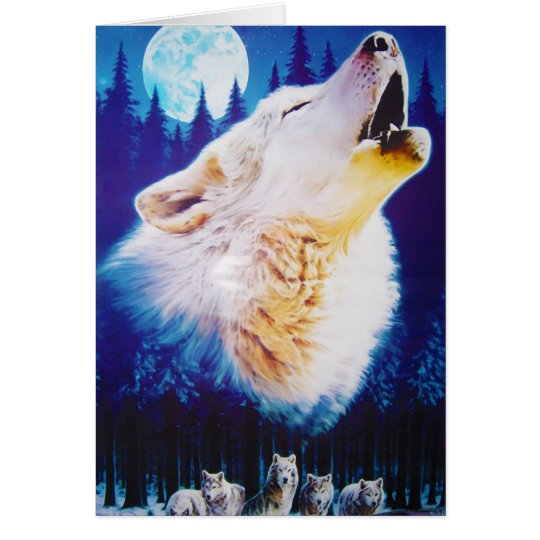Wolf Howling at the Full Blue Moon Card