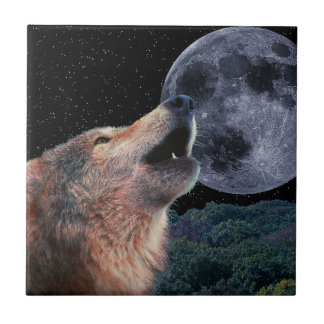 Wolf Howling at the Full Moon - Multi-Products-01 Ceramic Tile