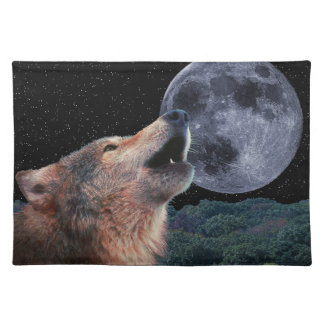 Wolf Howling at the Full Moon - Multi-Products-01 Placemats
