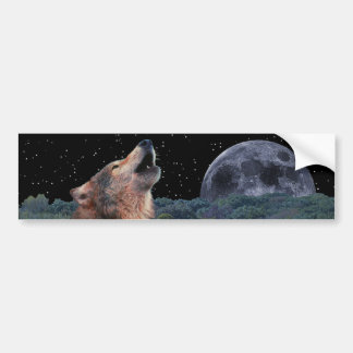 Wolf Howling at the Full Moon - Multi-Products-02 Bumper Sticker