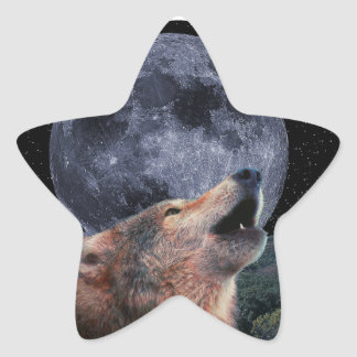 Wolf Howling at the Full Moon - Multi-Products-02 Star Sticker