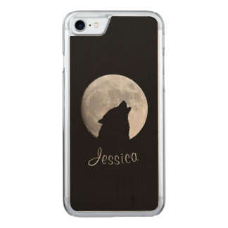 Wolf Howling at The Full Moon, Your Name Carved iPhone 8/7 Case