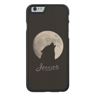 Wolf Howling at The Full Moon, Your Name Carved Maple iPhone 6 Slim Case