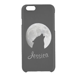 Wolf Howling at The Full Moon, Your Name Clear iPhone 6/6S Case