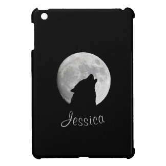 Wolf Howling at The Full Moon, Your Name iPad Mini Cover