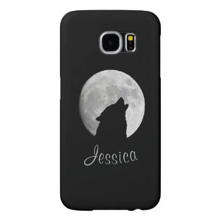 Wolf Howling at The Full Moon, Your Name Samsung Galaxy S6 Case