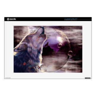 "Wolf Howling at The Moon 15"" Laptop Skin"