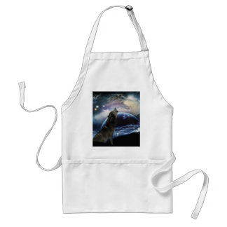 Wolf howling at the moon adult apron