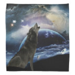 Wolf howling at the moon bandana