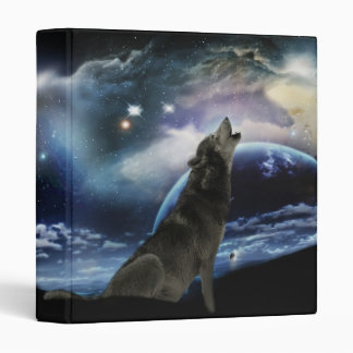 Wolf howling at the moon binder