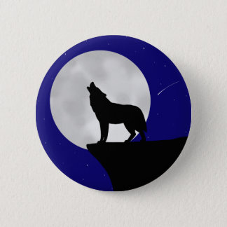 Wolf Howling at the Moon Button