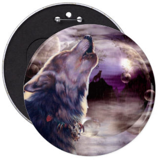 Wolf Howling at The Moon 6 Inch Round Button