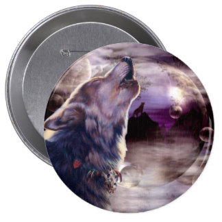 Wolf Howling at The Moon 4 Inch Round Button