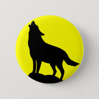Wolf Howling at the Moon. Button