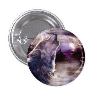 Wolf Howling at The Moon 1 Inch Round Button