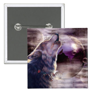 Wolf Howling at The Moon 2 Inch Square Button