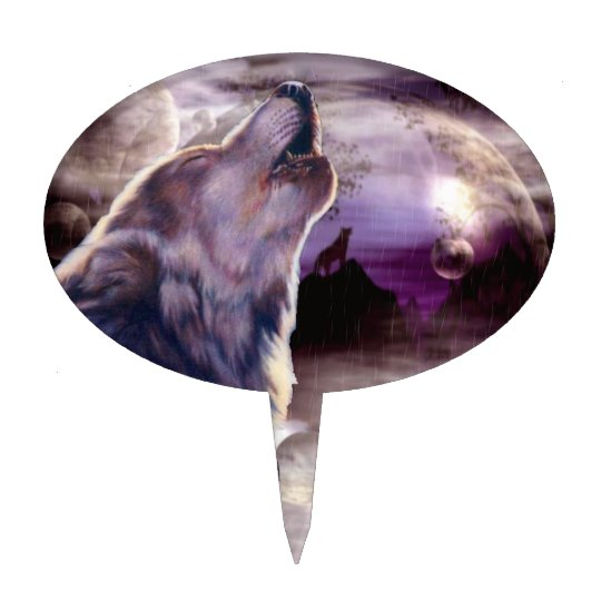 Wolf Howling at The Moon Cake Topper | Zazzle.com