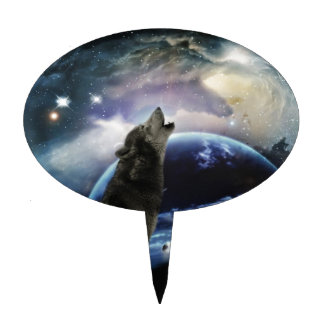 Wolf howling at the moon cake topper