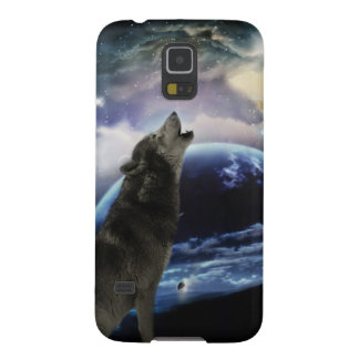 Wolf howling at the moon galaxy s5 cases