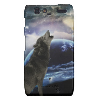 Wolf howling at the moon motorola droid RAZR case