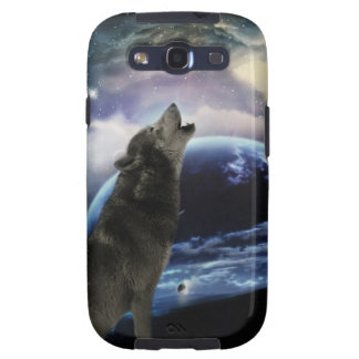 Wolf howling at the moon galaxy SIII cover