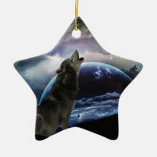 Wolf howling at the moon ceramic ornament