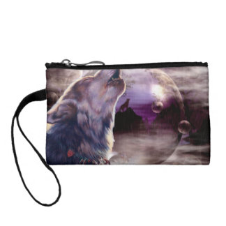 Wolf Howling at The Moon Coin Purse