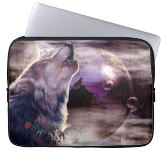 Wolf Howling at The Moon Computer Sleeve
