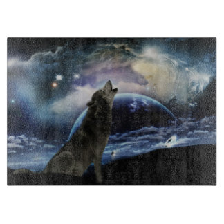 Wolf howling at the moon cutting board