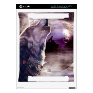 Wolf Howling at The Moon Decals For Xbox 360