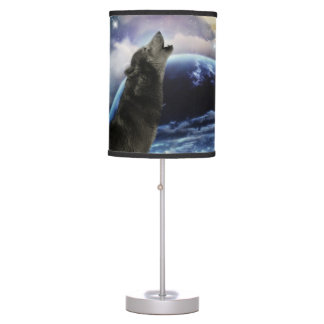 Wolf howling at the moon desk lamp