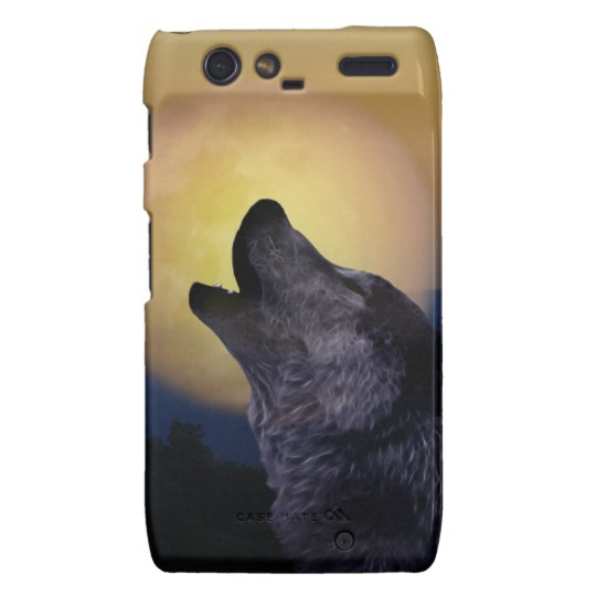 Wolf howling at the moon droid RAZR case
