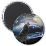 Wolf howling at the moon fridge magnet