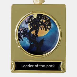 Wolf howling at the moon gold plated banner ornament