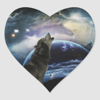 Wolf howling at the moon heart sticker
