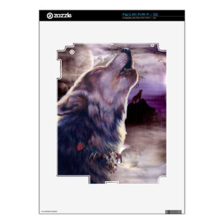Wolf Howling at The Moon iPad 2 Decal