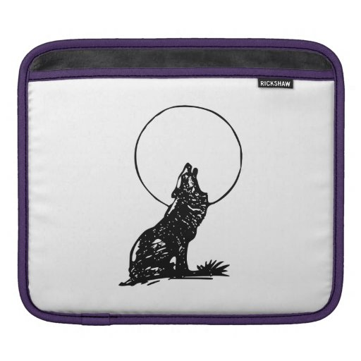 Wolf Howling at the Moon iPad Sleeves
