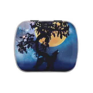 Wolf howling at the moon jelly belly candy tin