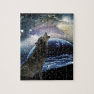 Wolf howling at the moon jigsaw puzzle