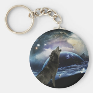 Wolf howling at the moon basic round button keychain