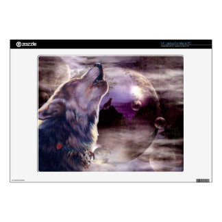Wolf Howling at The Moon Laptop Decal