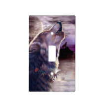 Wolf Howling at The Moon Light Switch Cover