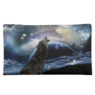 Wolf howling at the moon makeup bag