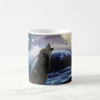 Wolf howling at the moon classic white coffee mug